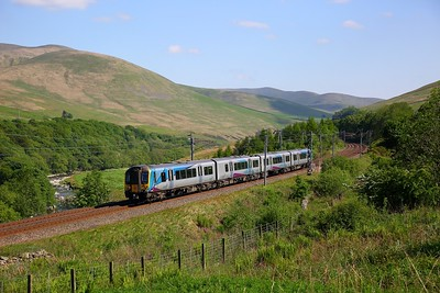 350408 on the 1S66 1504 Preston to Edinburgh through the Lune Gorge on the 28th May 2018  Started at Preston vice Manchester Airport due to points failure