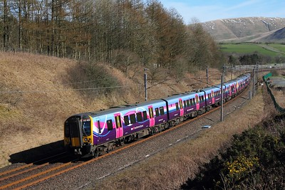 350403+350405 on the 1M93 0812 Edinburgh to Manchester Piccadilly (cancelled to Manchester Airport due to Points failure) at Beck foot on the 24th March 2017