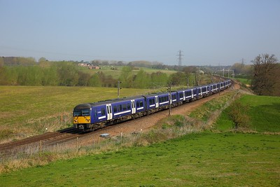 360120+360105 on the 1Y35 0953 Ipswich to London Liverpool Street at Brantham on the 20th April 2018