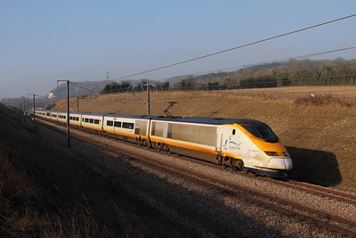 373231+373232 on the 9O32 1433 St Pancras to Paris Nord between Nashenden and Maidstone on the 13th February 2017