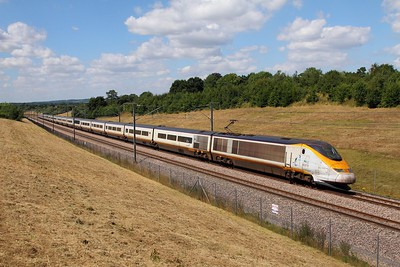 3005+3006 on the 9O28 1331 St Pancras to Paris Nord near Lenham crossover on the 6th August 2016