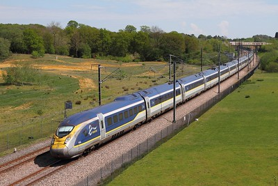 4008+4007 on the 9O29 1231 Paris Nord to St Pancras International at Lenham crossover near Maidstone on the 8th May 2016