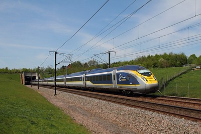 4016+4017 on the 9O24 1224 St Pancras International to Paris Nord at Chart Leacon on the 8th May 2016