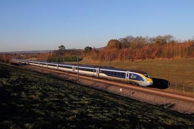4012+4011 on the 9O24 1224 St Pancras International to Paris Nord near Lenham on the 4th December 2016