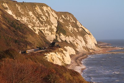 375823+375620 on the 2W46 1403 Dover Priory to London Charing Cross at Capel le Ferne on the 4th December 2015
