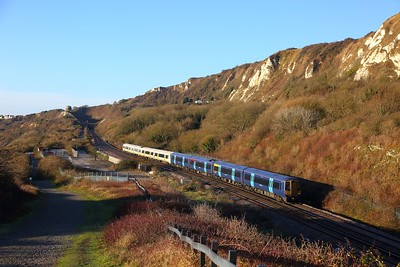 375608+375824 on the 2R16 0740 London Charing Cross to Dover Priory at Capel le Ferne on the 9th December 2017