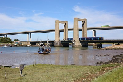 375304 working the 2D20 0918 Sheerness on Sea to Swale over Kingsferry bridge, Swale on 13 June 2020  Southeastern, Class375