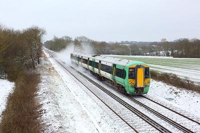 377326 working 2A29 1201 Tonbridge to Redhill at Crowhurst west of Edenbridge on 8 February 2021  Class377, Southern, RedhillTonbridgeLine