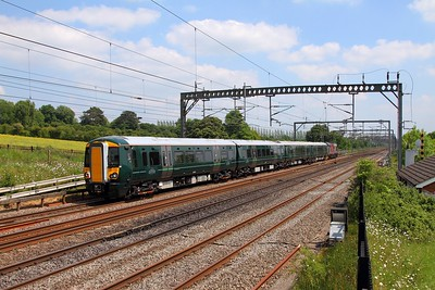 387150+37800 on the 5X74 Bletchley to Reading EMUD at Bourne End on the 25th May 2017 1