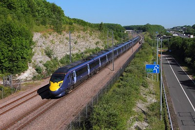 395025+395006 on the 5J12 St Pancras to Ashford Down sidings at Medway viaduct on the 25th May 2017