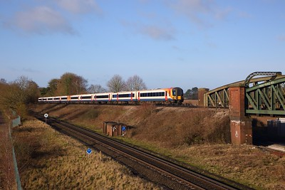 444045+444009 on the 2B24 0700 Bournemouth to London Waterloo at Worting junction on the 16th March 2020