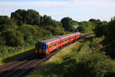 455867 works the 2H58 1822 Shepperton to Kingston shuttle away from Shepperton on 14 June 2020  Sheppertonline, Class455, SWR