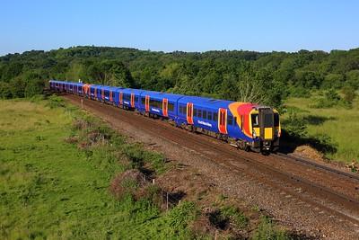 458515 leading 458519 working 1S14 0702 Weybridge to London Waterloo at Egham on 14 June 2021  Class458, SWR, ReadingWaterlooLine