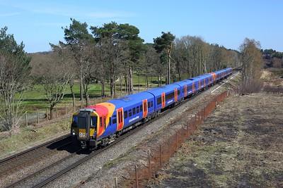 458528 leading 458510 on 2C39 1350 London Waterloo to Wokingham at Chobham common on 17 April 2021  Class458, SWR, WaterlooReadingLine