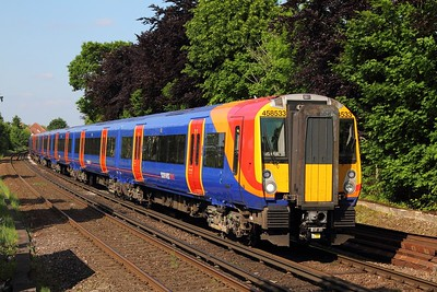 458533+458520 on the 2S45 1522 London Waterloo to Weybridge at Egham on the 25th May 2017