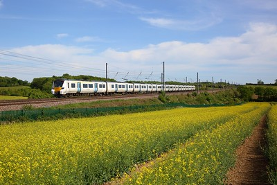 Thameslink 700009 works the 9T36 1425 Brighton to Bedford at Childwickbury near Harpenden on the 18 May 2020