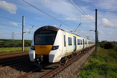 Thameslink 700118 on 9J48 1525 Horsham to Peterborough at Sandy on the ECML on 22 May 2020