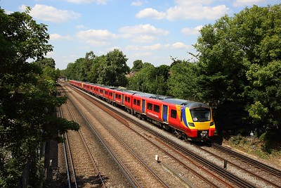 707015+707020 on the 2S34 1203 Weybridge to London Waterloo at Barnes on the 16th July 2019