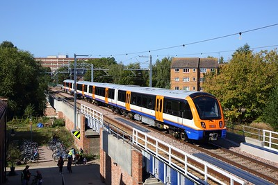 710265 on the 2J39 1105 Gospel Oak to Barking at Walthamstow Wetlands on the 18th September 2019