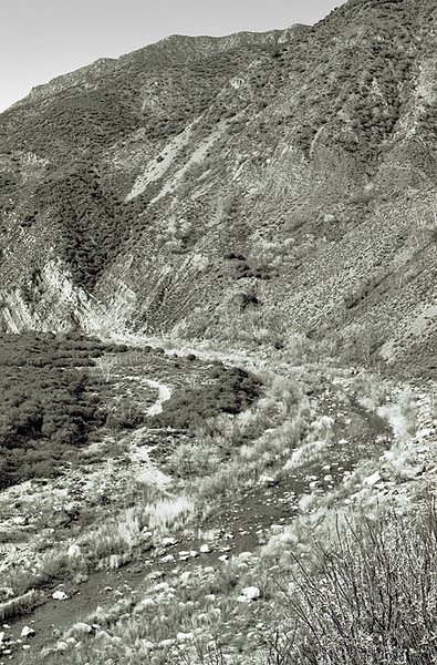 Sespe Creek crossing, 1983. That is as much as I know with certainty; I don't know precisely where along the middle Sespe this crossing is located.