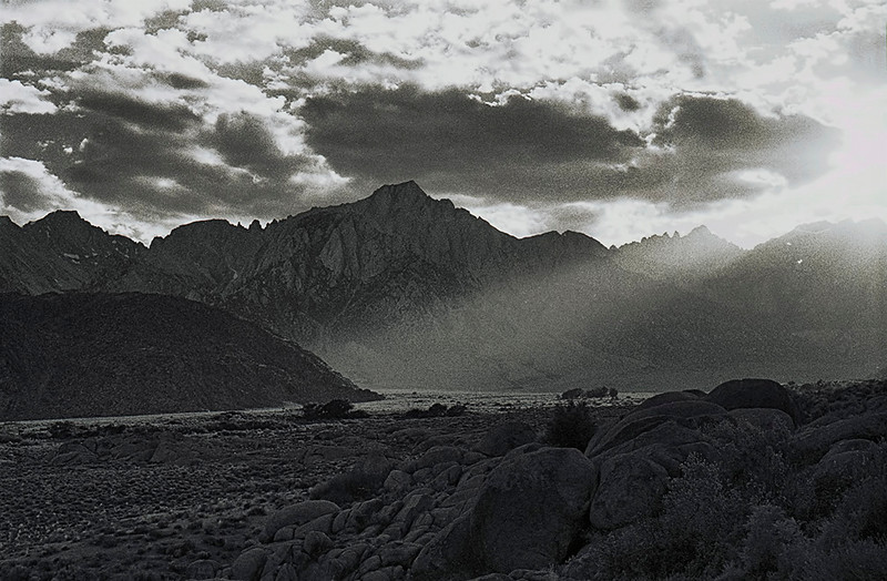 Not the Los Padres: Lone Pine Peak and Mount Whitney from the Alabama Hills, August, 1977. Shot with a Mamiya 500DTL 35mm SLR I bought used at Dexter's Camera in Ventura, a 50mm lens, and Kodak Tri-X film. If you see the Ansel Adams wannabe influence, you are correct. If you think the attempt was pathetic but with honest, hero-worship inspired intentions, you are also correct.