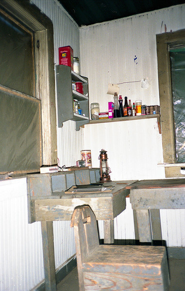 The famous Madulce Cabin kitchen condiment shelf and spice rack is on display in this picture. Once when I was at Madulce some horse packers arrived with two turkeys, appropriate cooking gear and a very collegial approach to sharing a camp. I ate well that night.