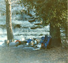 White Ledge Camp, 09/1985. Did you know that North Face made an external frame pack in the early 1980s? That's it leaning against the tree. Just to the right of the Nalgene bottles is my Svea 123 stove (I still have it). I could prime it and light it with one match almost every time (if you were around then, you understand that claim).