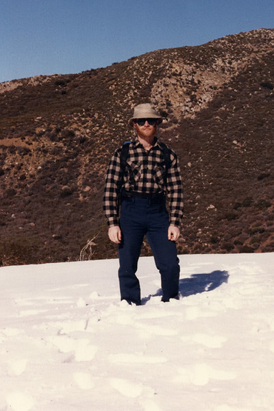 In snow with bright sun on the Red Reef Trail near Hines Peak in the early 1980s. In those days it was always 100 ° F (38 ° C) and there was always three feet (0.9 M) of snow. And we liked it that way. The 1960s and 1970s were worse. We liked that even more.