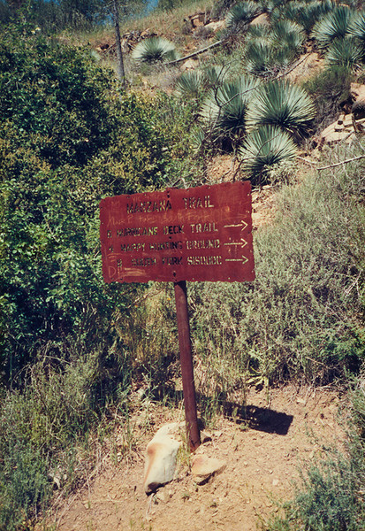 Heading down the Manzana Trail, 26 Mar, 1988. In retrospect, this was a sad day. I have not backpacked in the Southern Los Padres since this trip, and after 1989, I have hiked the Southern Los Padres less than once a year. Perhaps that will now change.