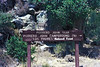 Potrero John Canyon trail head sign, August, 1984.