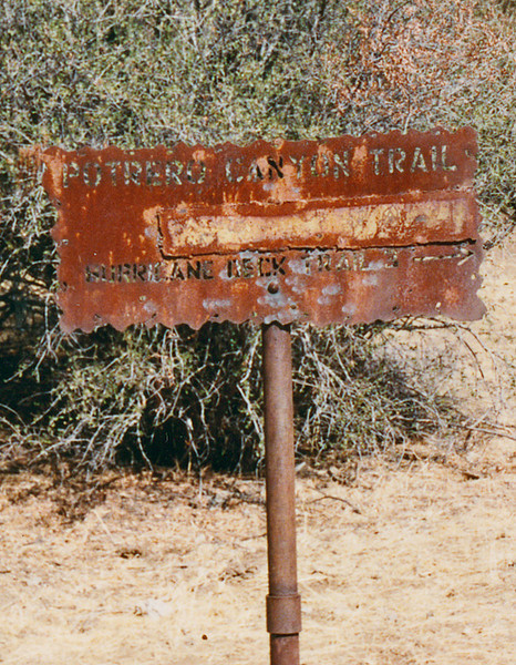 Manzana Trail heading to Manzana Schoolhouse, April 1984. Given the message on the sign, I guess the Hurricane Deck trail was two miles away.