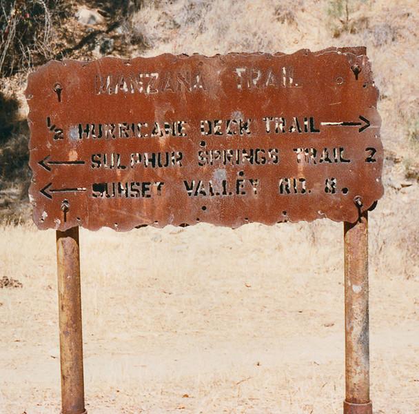 Manzana Trail heading to Manzana Schoolhouse, April 1984. Almost to Manzana Schoolhouse and the Hurricane Deck Trail.