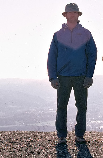 On Nordhoff Peak, 12/1984, in intense backlight. Some think the light veil around my head was a metaphysical omen of some sort. I suspect it had more to do with the physics of lens flare.