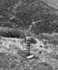 Motor traffic warning pylon near the mouth of Hot Springs Canyon, 1979. By this time the Sespe Road was the Sespe Trail both by legal decree and as reconfigured by nature.