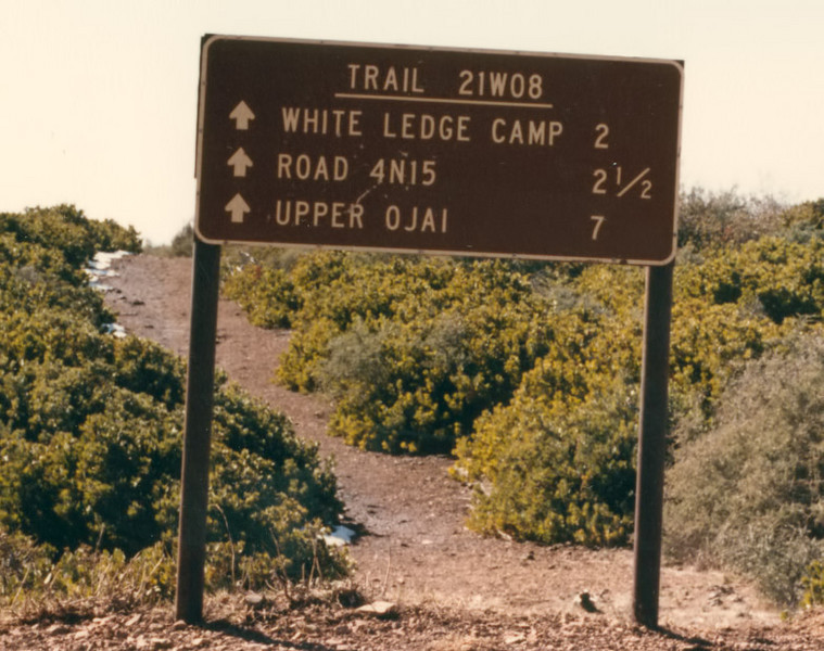 Signage where the trail from White Ledge hits the fire road. This shot is from 11/1982. As you will see if you look through this gallery, I went this way quite a few times.