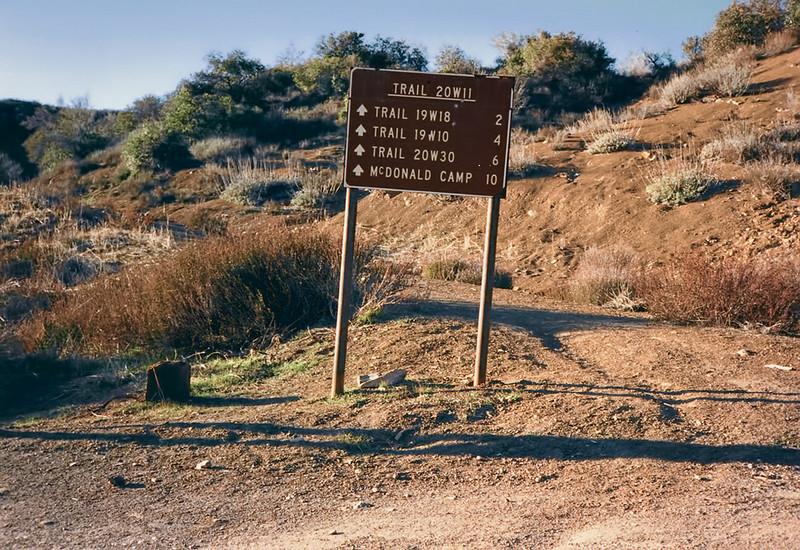 Trail sign near Dough Flat, 01/1985