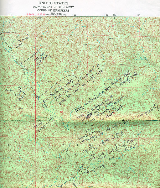 I found this hand annotated Devils Heart Peak topo among my collection of old maps. If you need to get to McDonald Cabin in the 1970s or 1980s, this is the route (I made these notes sometime in the mid 1970s). These days, I would simply use a GPS track. However, if your batteries die or there is no satellite reception, this still works (add a compass and an accurate, calibrated analog barometric altimeter and you are set).