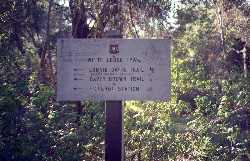 Trail sign approaching South Fork, Sisquoc River, 26 March, 1988.