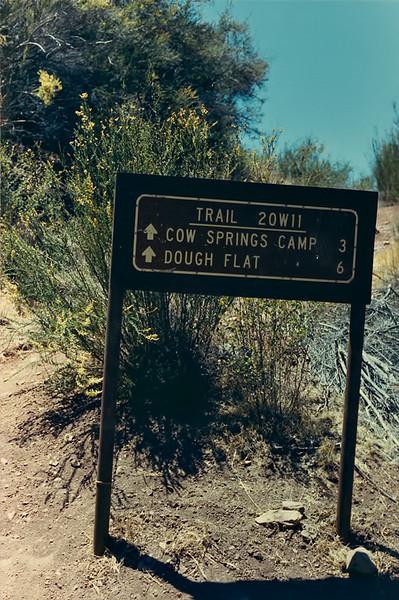 Trail sign near Alder Creek Camp, 06/1985