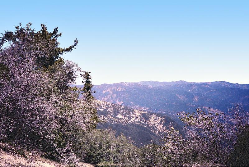 Monte Arido from Santa Ynez Ridge slightly east of Divide Peak, April, 1984.