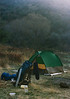 """<font class=""""mystri"""">Alder-Sespe Camp (confluence Alder and Sespe Creeks) 12/1986.</font> Camp at Sespe Hot Springs, 12/1986. I have had this labeled incorrectly for a long time. Jon has the correct ID in the comments and the sequence of the negatives from the trip, recovered in August, 2011 confirm this. Note 1980 vintage North Face VE 23 tent. Also note the Jansport D2 frame pack; some people loved the D2 / D3; I hated it. I understand the D2 has been reissued by Jansport. Feel free to get one; I won't."""