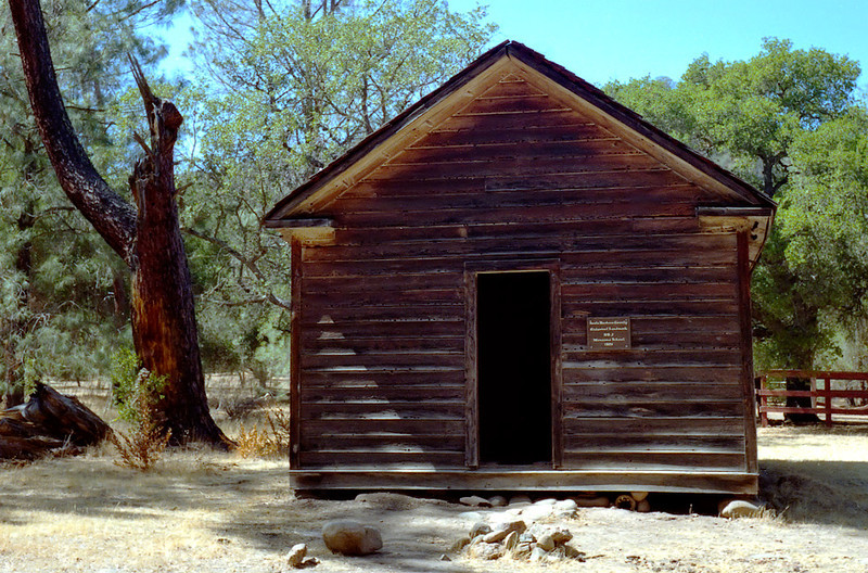 Manzana Schoolhouse, April 1984. Another of those peculiar, historic places in the Southern Los Padres.