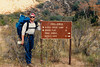 Trail sign, start of lower Sespe Creek, 12/1986. I am carrying my beloved Lowe Triolet. I acknowledge that the term 'beloved' is a bit overwrought. I started wearing a bandana on my head this way because: 1. It seemed to keep the ticks out of my hair when crashing through brush, and 2. My hat would get knocked off repeatedly in heavily brushed out areas.