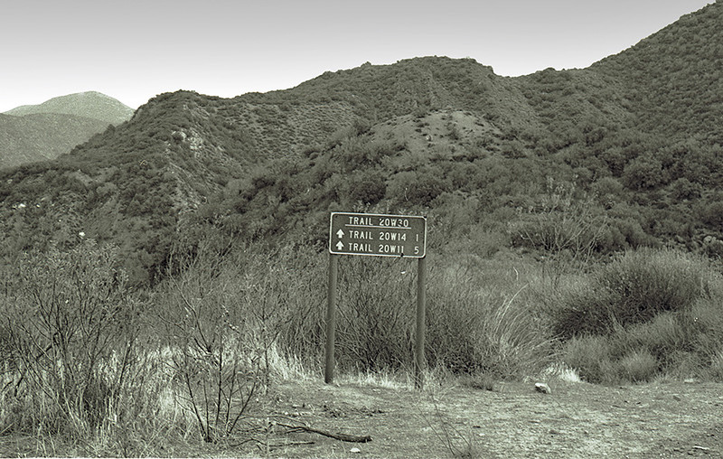 Sign near Hot Springs Canyon indicating the route to the lower Sespe trail (actually, there is no trail, but it has that 20W14 number, I suppose, in remembrance of a time long ago) and the Alder Creek trail. 1983.
