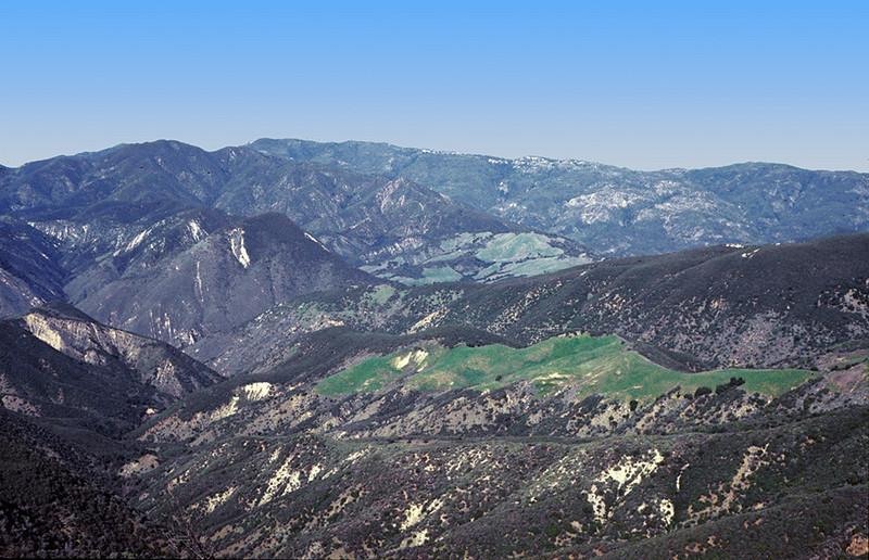 Little Pine Mountain view north, 01/1984. Santa Cruz trail to Santa Cruz Station.