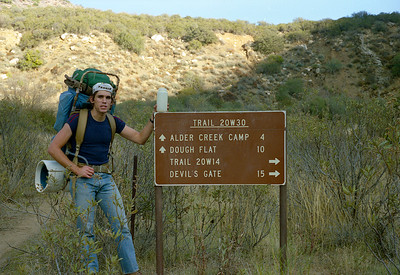 Trail sign, start of lower Sespe Creek, 12/1986. Jon is carrying his classic Jan Sport D2.