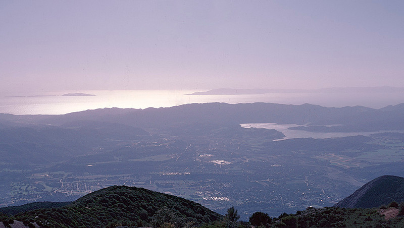 Looking over the Ojai Valley, Lake Casitas and the Pacific Ocean (Anacapa and Santa Cruz islands) 12/1984. If you hike to Nordhoff Peak, you are required to take this picture, no exceptions.