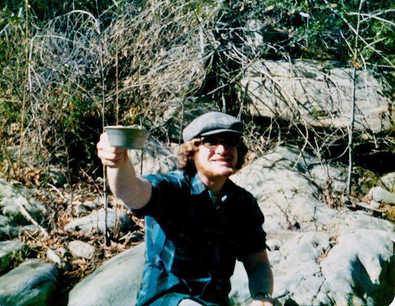 Drinking water directly from somewhere on Upper North Fork, Matilija Creek, 01/1974. Note: first Giardia lamblia experience: 01/1984, probably contracted from Santa Cruz creek; after that I purified everything.