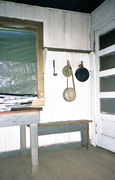 Another view inside the sleeping quarters of Madulce Cabin. I guess I thought the gear hanging on the wall hooks was a good subject for a picture.
