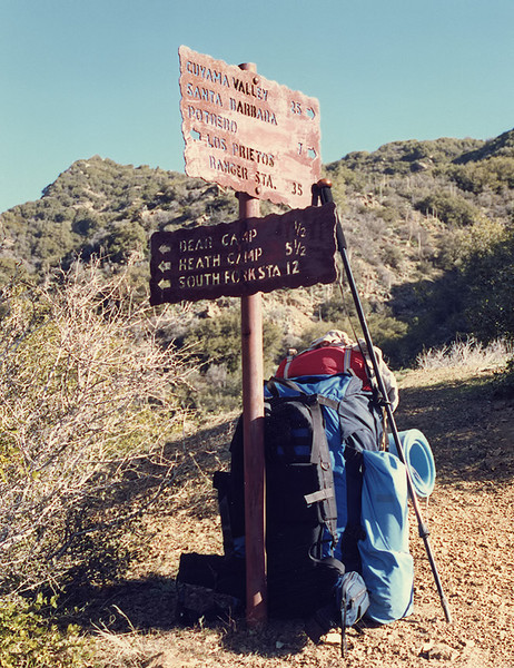Heading to Bear Camp after hiking up from Santa Barbara Canyon, 19 Feb, 1988. The Lowe Triolet was a Real Cheap Sports, Ventura purchase; used from 1983 to 1994.